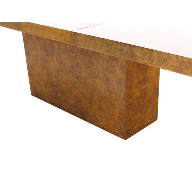 Burl Wod Single Pedestal Dining Table For Sale In New York - Image 6 of 8