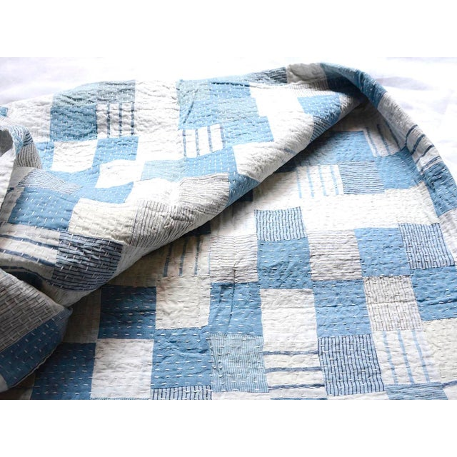 Farmhouse Boro Patchwork Quilt Throw Blanket For Sale - Image 3 of 7