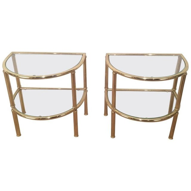 Pair of French Demi Lune Shaped Brass Side Tables For Sale - Image 10 of 10