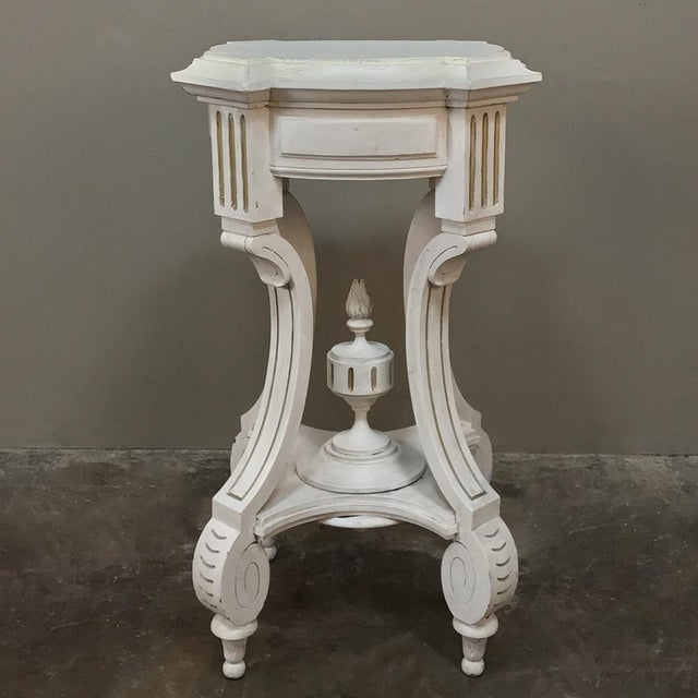 19th Century French Henri II Painted Lamp Table ~ Pedestal features classical architecture and gracefully scrolled legs...
