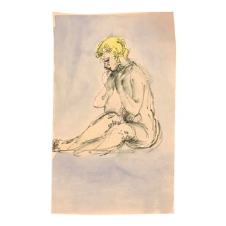 1960s Seated Female Nude Watercolor Painting For Sale