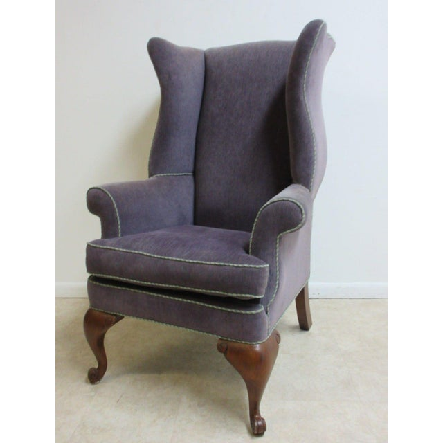 Vintage Purple Wingback Chair For Sale - Image 11 of 11