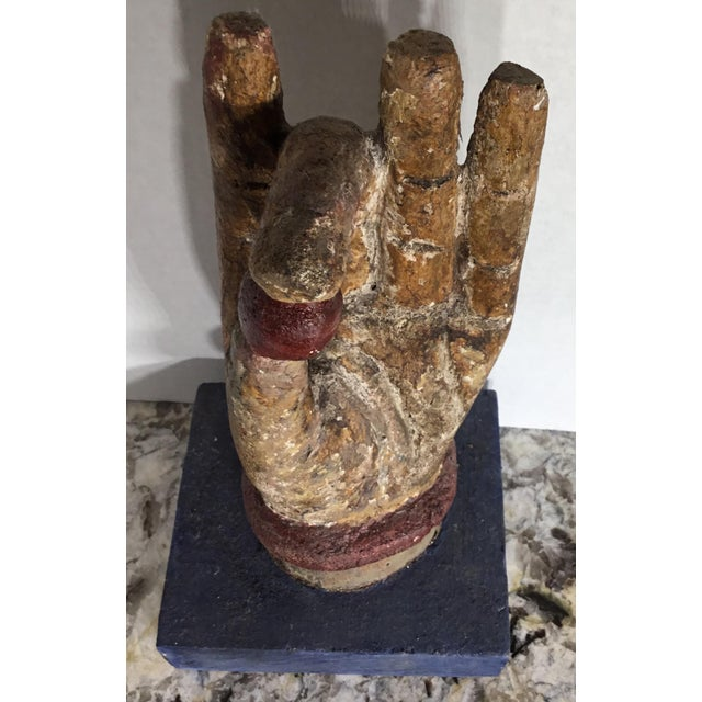 Chinese Wood Buddha Hand Carving For Sale - Image 10 of 10