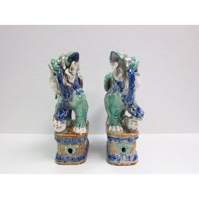 Vintage Turquoise Foo Dogs - A Pair - Image 4 of 8