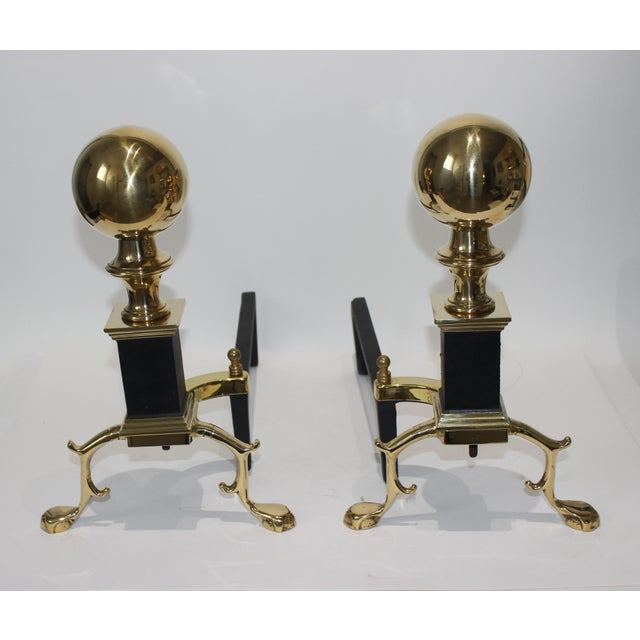 19c Fireplace Accesories Regency Style Andirons - a Pair For Sale - Image 9 of 11