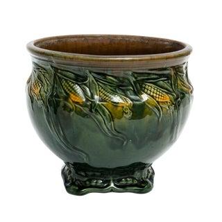 1910's Vintage Weller Majolica Pottery Corn Motif Jardinière For Sale