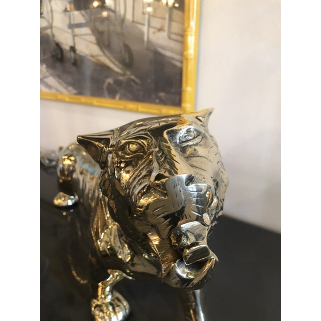 Vintage Hollywood Regency Polished Brass Tiger Statue Pair Available For Sale - Image 9 of 11