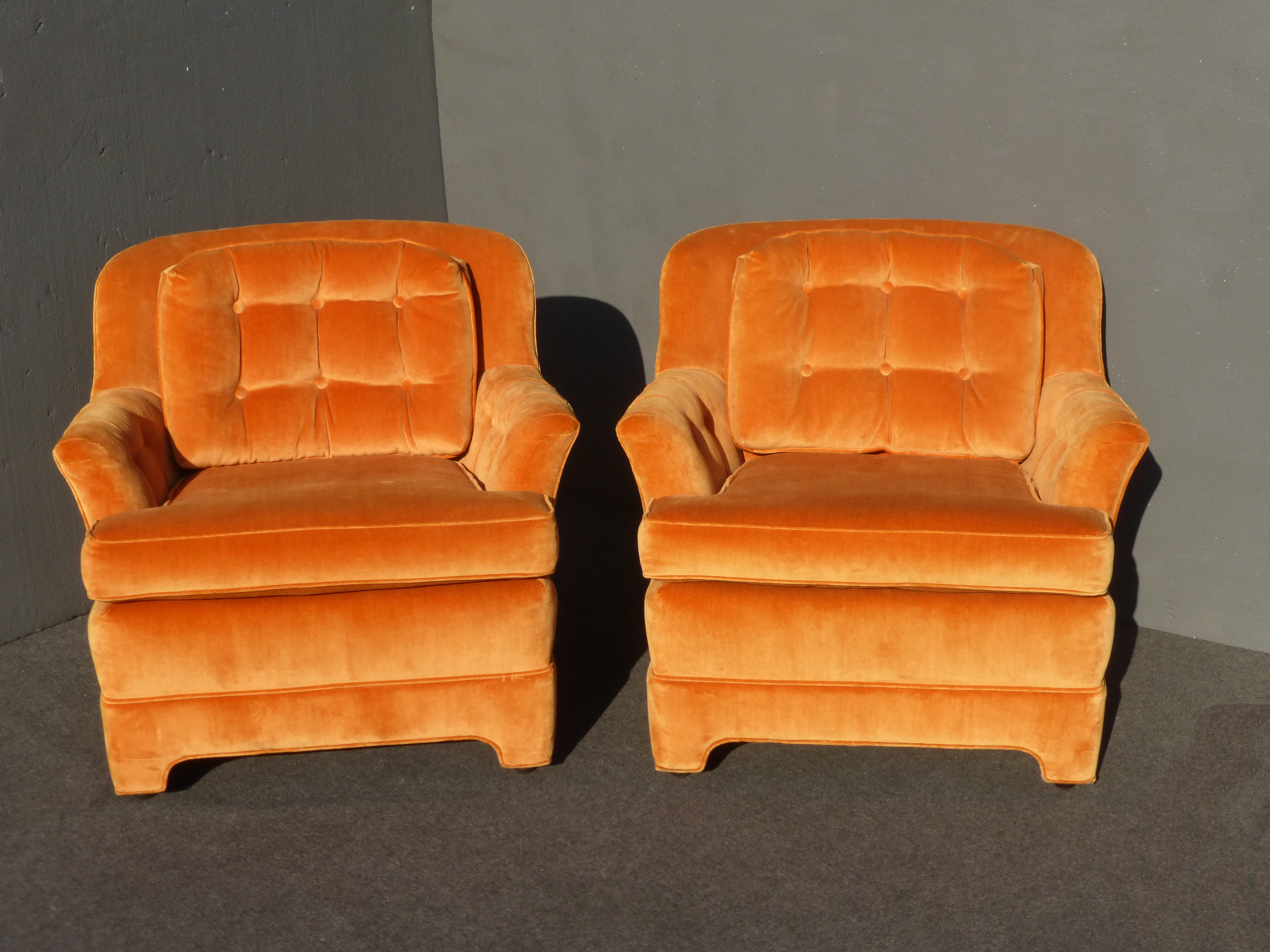 The Seller Says: A Pair Vintage Marge Carson Orange Velvet Accent Chairs.  Authentic Marge. Mid Century ...