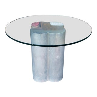 "Contemporary 1970s Aluminum Pedestal Base 48"" Diameter Round Glass Top Kitchen Table For Sale"