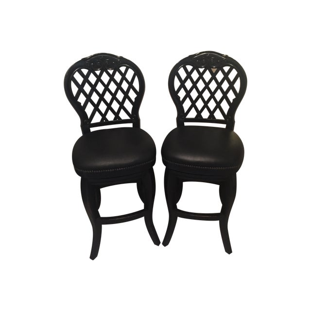 Braxton Leather & Wood Bar Stools - a Pair - Image 1 of 7