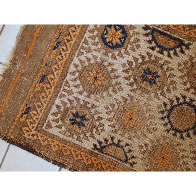 1890s Hand Made Antique Afghan Baluch Rug - 2′1″ × 3′9″ - Image 7 of 10