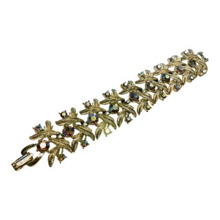 Lisner Aureole Borealis Sparkly Silver Toned Leaves Bracelet For Sale