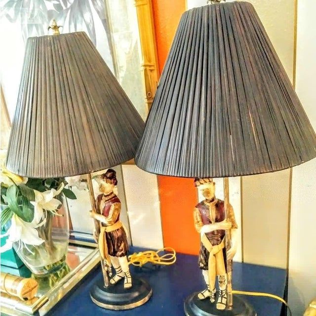 1980s Vintage Bill Huebee Style Monkey Lamps with Rattan Parasol Shades - a Pair For Sale - Image 5 of 10