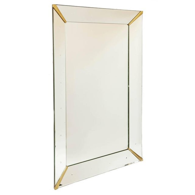 One of a kind huge rectangular Venetian dotted mirror with heavy wooden backing. The hooks are placed for hanging it...