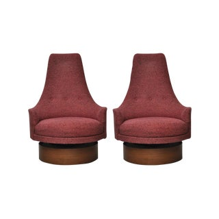 1960s Adrian Pearsall High Back Swivel Lounge Chairs - a Pair For Sale