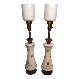 Porcelain & Glass Crown Lamps - Pair