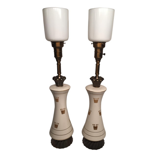Porcelain & Glass Crown Lamps - Pair For Sale