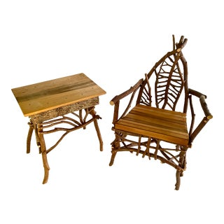 Rustic Adirondack Twig Chair and Table - A Pair For Sale