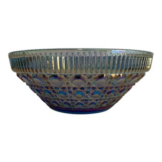 Iridescent Blue Carnival Glass Bowl For Sale