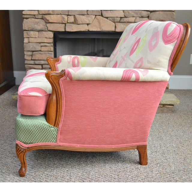 Colorful and charming Midcentury wood trimmed armchair. Pink, lime and taupe upper, green check and pink velvet upholstery.