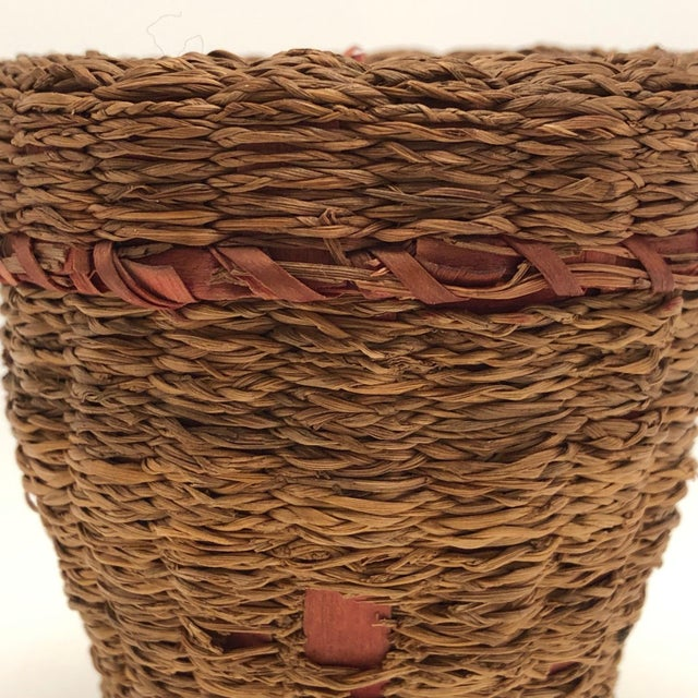20th Century Primitive Wabanaki Sweetgrass and Dyed Ash Splint Lidded Basket For Sale - Image 12 of 13