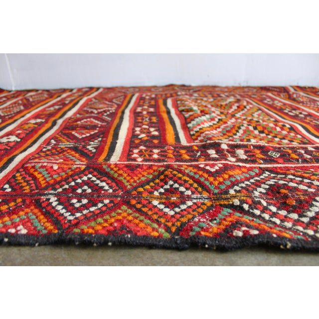 Antique North African Geometric Handwoven Wool Rug 310