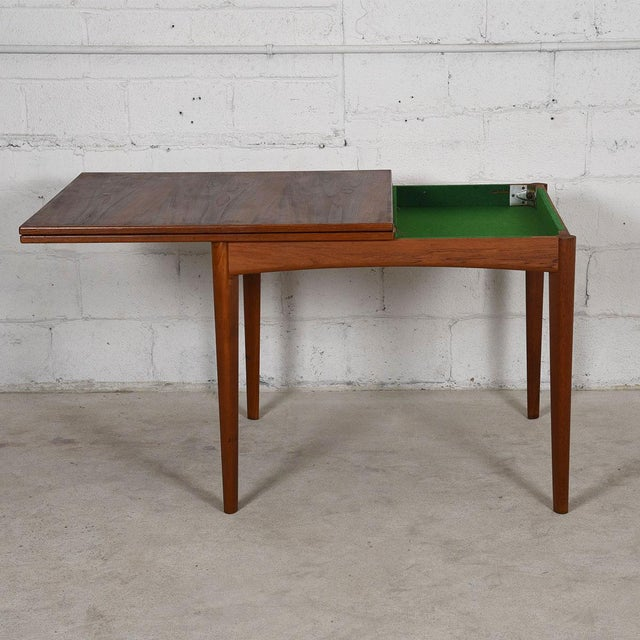 Danish Modern Teak Square to Rectangle Dining / Game Table For Sale - Image 4 of 7