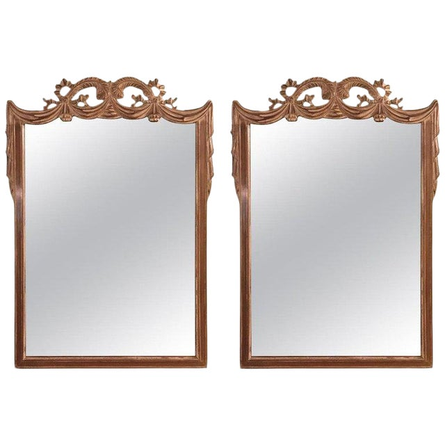 Compatible Hollywood Regency Grosfed House Ribbon and Tassle Form Mirrors, Pair For Sale