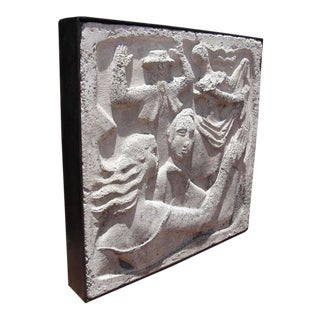 "Wall- Mounted Cast Concrete Art Deco Plaque Entitled, ""Dance"""