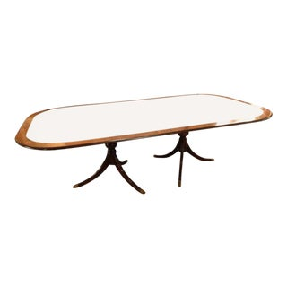 Monumental Georgian Style Banded Dining Room Table with Two Leaves