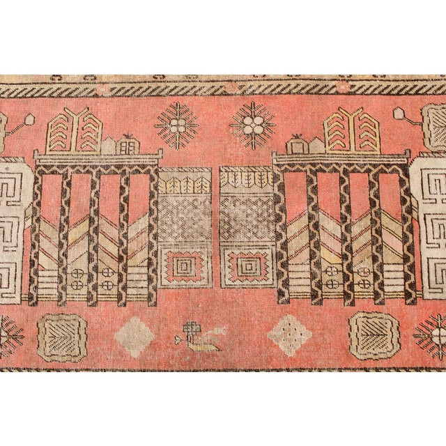 "Antique Khotan Pink Jewel Tone Hand-Knotted Rug -4'4""x 8'1"" - Image 3 of 4"