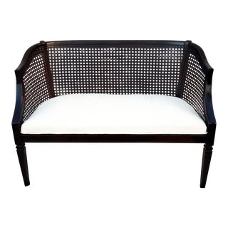 1950s Vintage Cane Back Settee For Sale