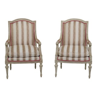 French Louis XVI Style Paint Decorated Bergere Chairs - a Pair For Sale