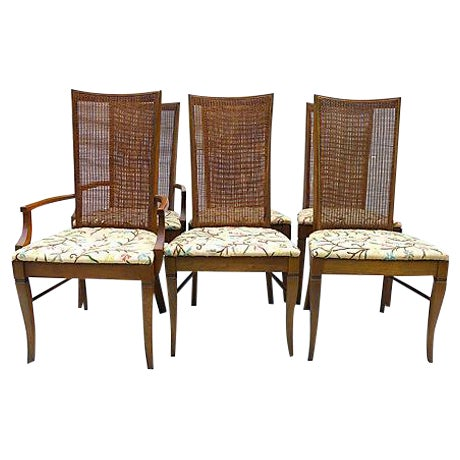 Mid-Century Caned Dining Chairs - Set of 6 - Image 1 of 8