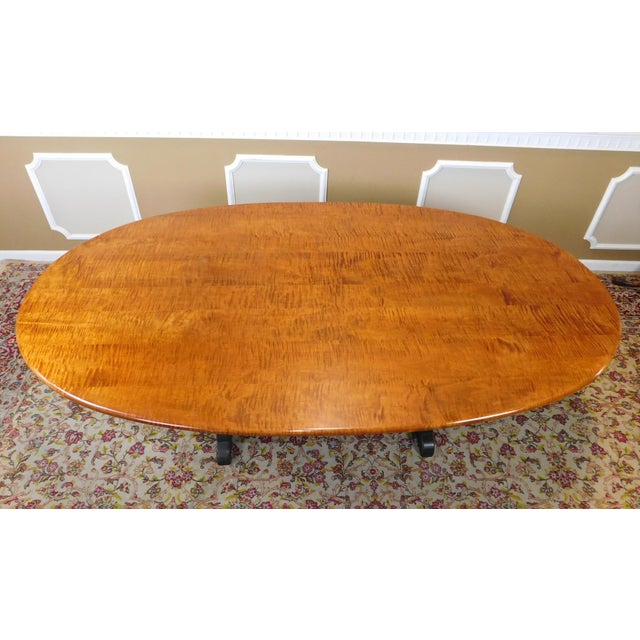 Tiger Maple Oval Country Dining Table - Image 6 of 10