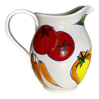 Italian Hand Painted Vegetable Design Ceramic Pitcher For Sale