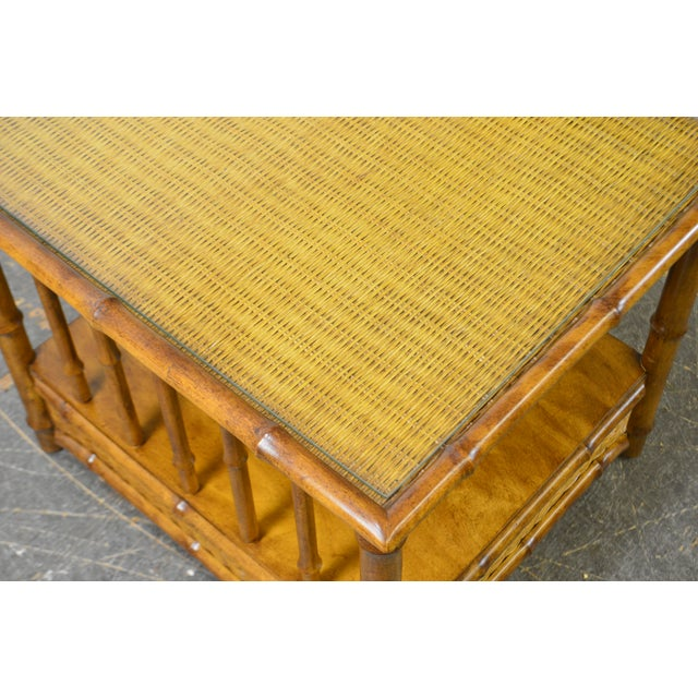 Faux Bamboo & Wicker Side Table by American of Martinsville For Sale - Image 12 of 13