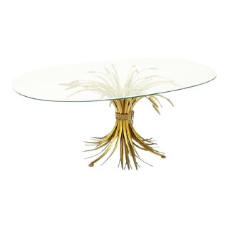 Coco Chanel 20th Century French Gilt Metal Sheaf of Wheat Table With Oval Glass Top and Brass Base For Sale