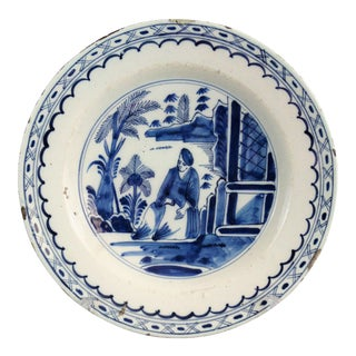 Antique Delft Chinoiserie Charger With Figure For Sale