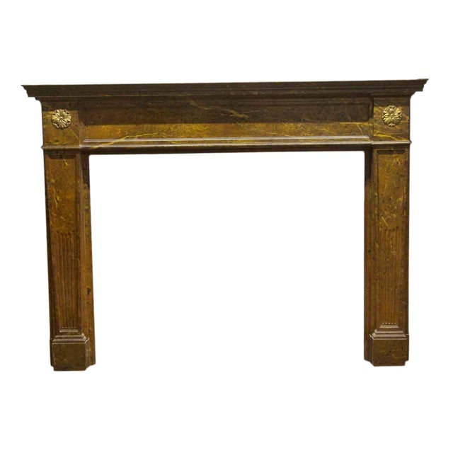 Antique Wooden Regency Mantel With Faux Marble Look For Sale