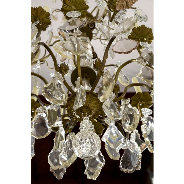 Tall Bronze Belle Epoque 21-Light Chandelier W/ Smoke & Mauve Crystals For Sale - Image 11 of 13