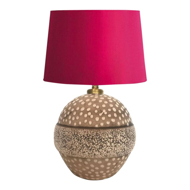Mid-Century Studio Pottery Lamp with Decorative Surface For Sale