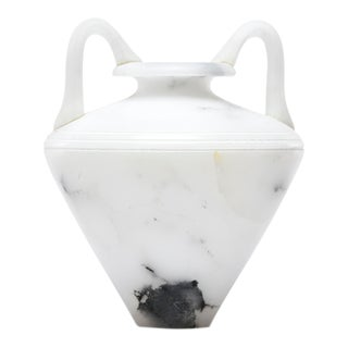White Alabaster Vase With Handles For Sale