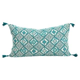 Guatemalan Emerald Handwoven Pillow For Sale
