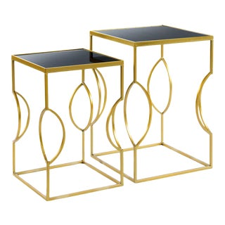 Marble Top Clemence Side Tables - A Pair