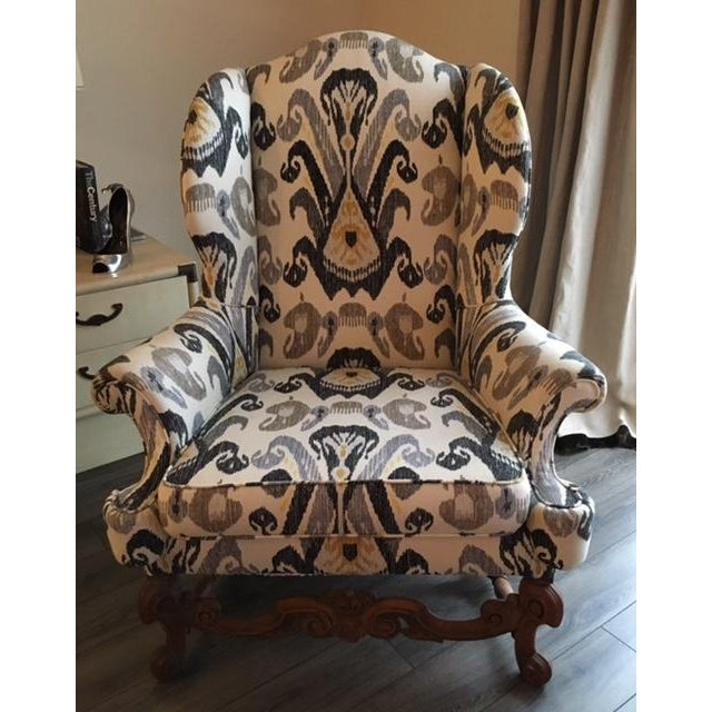 Antique Boho Ikat Wingback Chair - Image 2 of 6