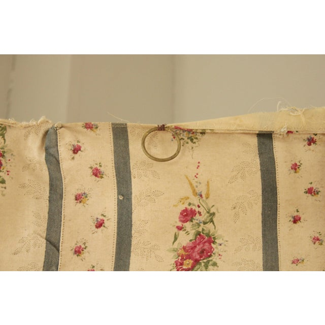 Off-white Antique French Blue Striped Floral Curtain For Sale - Image 8 of 10