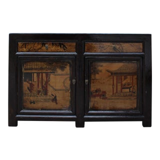 Chinese Distressed Brown Scenery Graphic Sideboard Console Table Cabinet