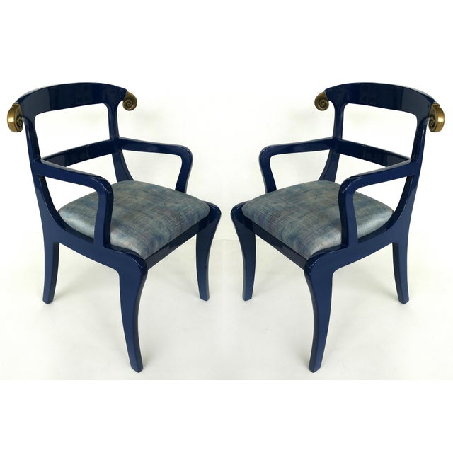 Klismos Ram's Horn Lacquered Arm Chairs- a Pair For Sale - Image 10 of 10