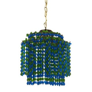 Two-Tiered Green & Blue Beaded Pendant Lamp